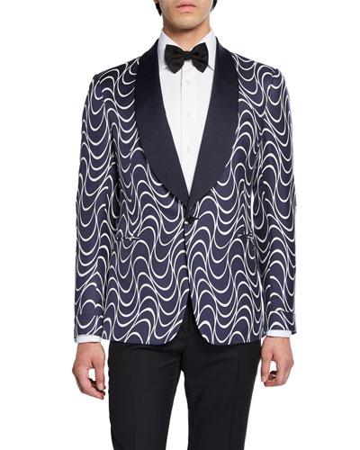 Men's Wave-Pattern Shawl-Collar Formal Dinner Jacket