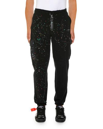 Men's Paint Splatter Cargo Sweatpants