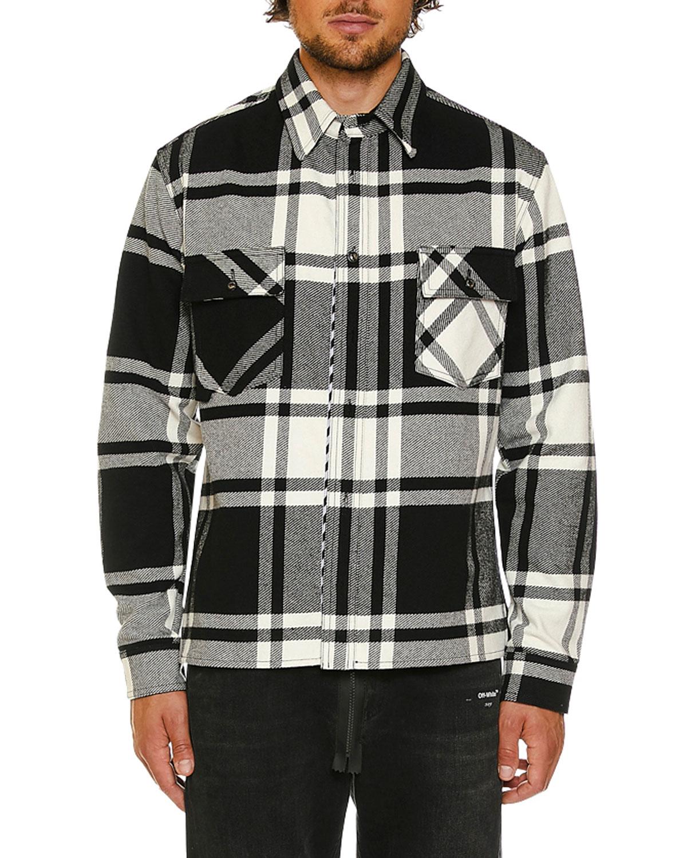 3322757f8e2027 Off-White Men's Stencil Flannel Shirt | Neiman Marcus