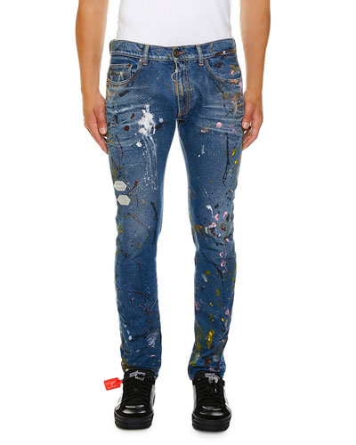 Men's Regular Length Vintage Paint Skinny Jeans
