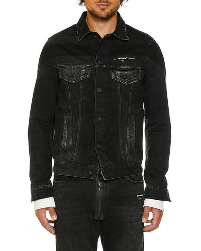 Men's Slim-Fit Denim Jacket with Fleece