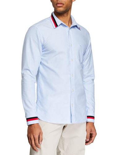 Men's Harry Long-Sleeve Sport Shirt with Striped Trim