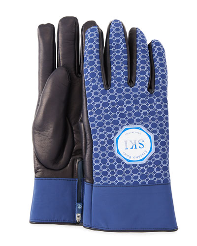 Men's Geometric-Print Lambskin Gloves
