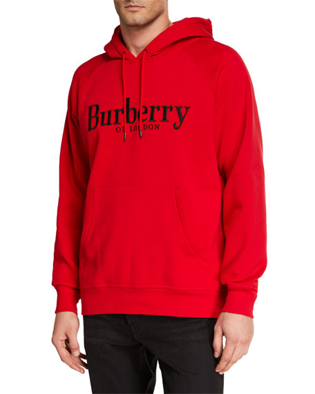 Burberry Men's Solid Graphic-Print Hoodie