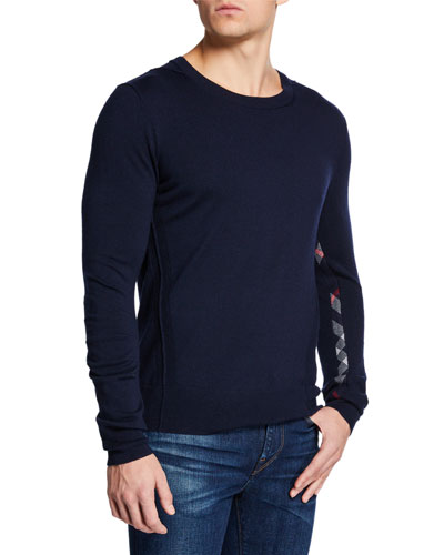 Men's Carter Check-Trim Wool Sweater
