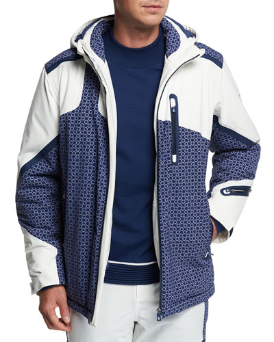 Men's Geometric-Pattern Hooded Down Ski Jacket