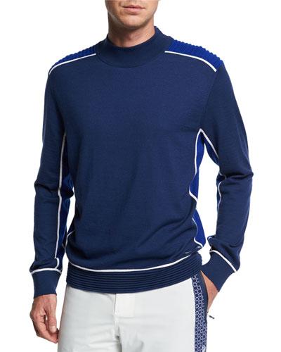 Men's Contrast-Trim Cashmere Mock-Neck Sweater