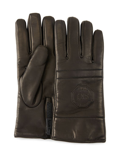 Men's Logo-Embossed Lambskin Gloves