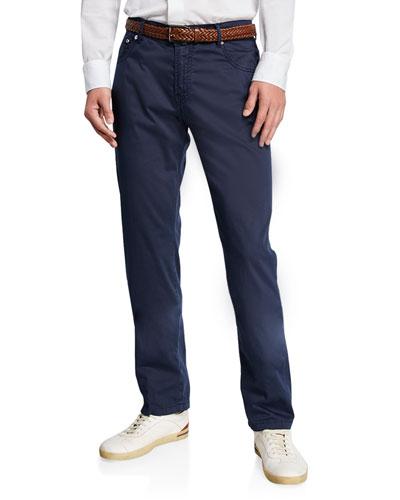 Men's Cotton/Silk-Stretch Straight-Leg Pants