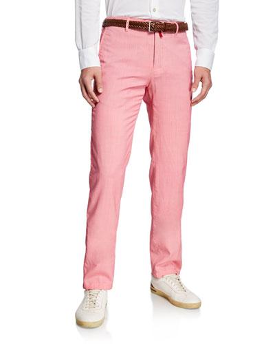 Men's Slim-Straight Flat-Front Wool Pants