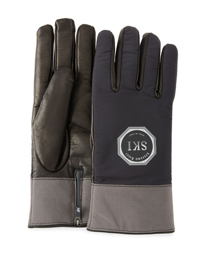 Men's Logo-Embossed Two-Tone Lambskin Gloves