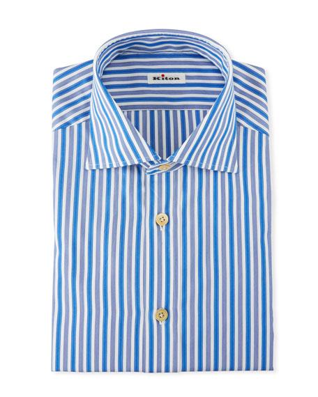 Kiton Cottons MEN'S STRONG STRIPE DRESS SHIRT