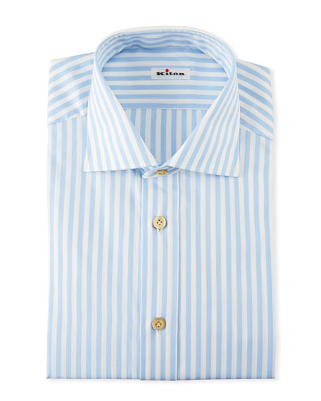 Kiton Cottons MEN'S LARGE BENGAL STRIPED DRESS SHIRT