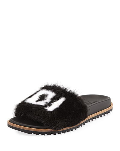 Men's Fendi Mania Logo-Print Mink Fur Slide Sandals