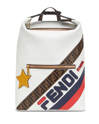 Men's Fendi Mania Logo-Stamped Leather Backpack