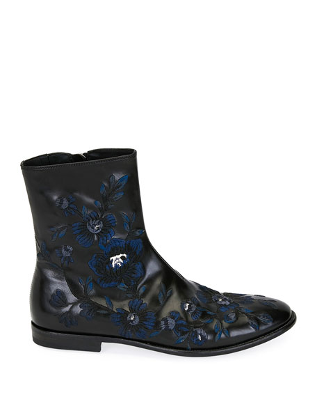 ALEXANDER MCQUEEN Leathers MEN'S EMBROIDERED LEATHER HALF-BOOT