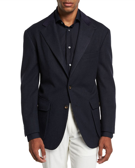 STEFANO RICCI Men'S Campagna Wool Two-Button Jacket in Blue