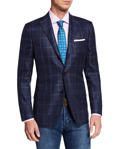 Men's Cashmere/Silk Windowpane Sport Coat