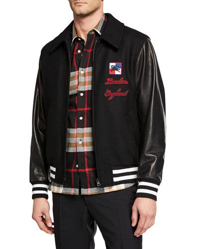 Men's Stockbridge Wool-Blend Bomber Jacket
