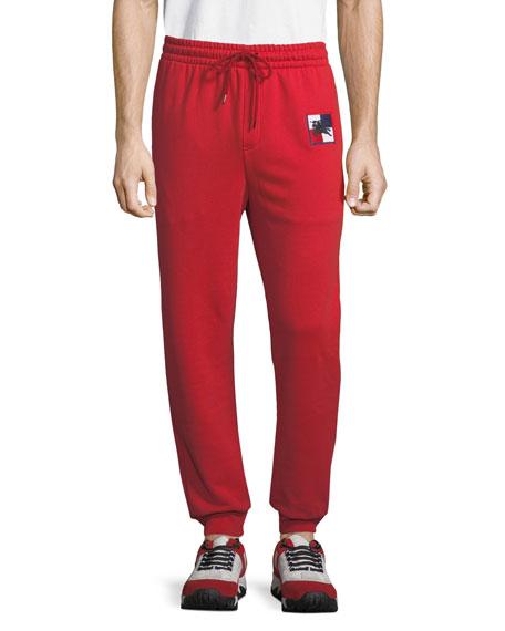 Burberry Men's Munley Check-Patch Sweatpants