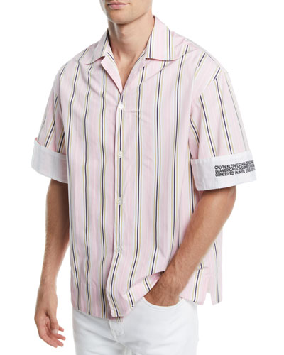 Men's Multi-Stripe Short-Sleeve Sport Shirt