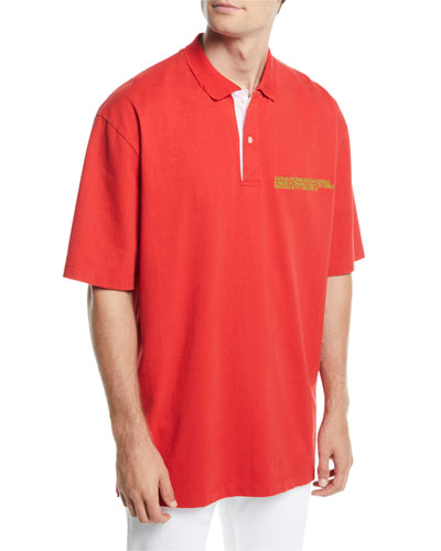 Men's Oversized Polo Shirt with Embroidered Logo