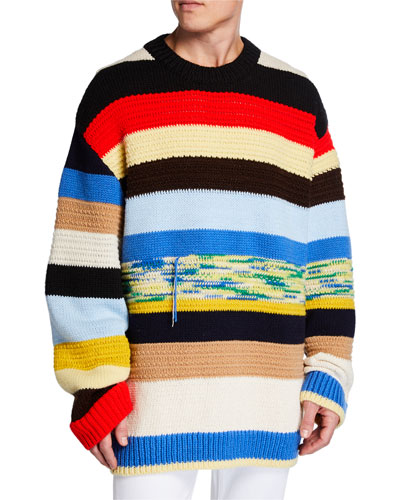 Men's Oversized Multi-Stripe Sweater