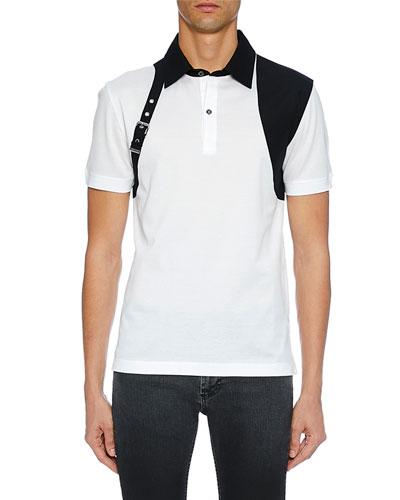 Men's Short Sleeve Shirt with Shoulder Belt