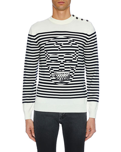 Men's Crewneck Striped Graphic Long-Sleeve Shirt