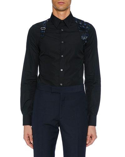 Men's Long-Sleeve Embroidered Flower Shirt