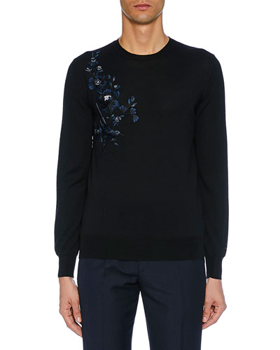 Men's Long-Sleeve Flower Embroidered Sweater