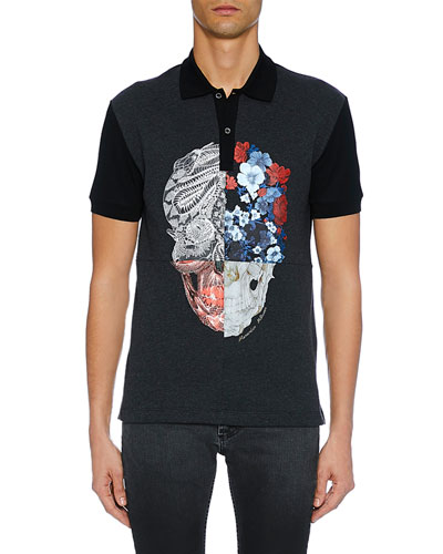 Men's Two-Button Skull Graphic Polo Shirt