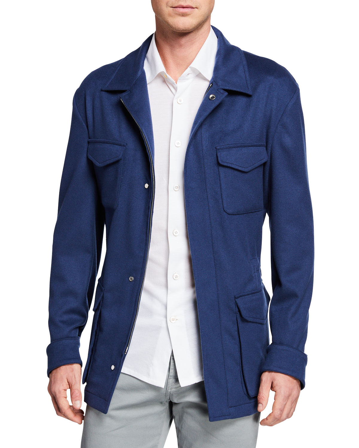 Kiton Men S Cashmere Safari Jacket Neiman Marcus