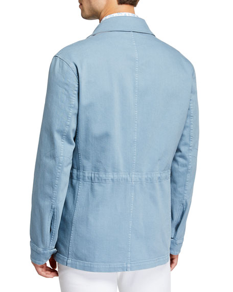 Kiton Men's Light Wash Denim Safari Jacket