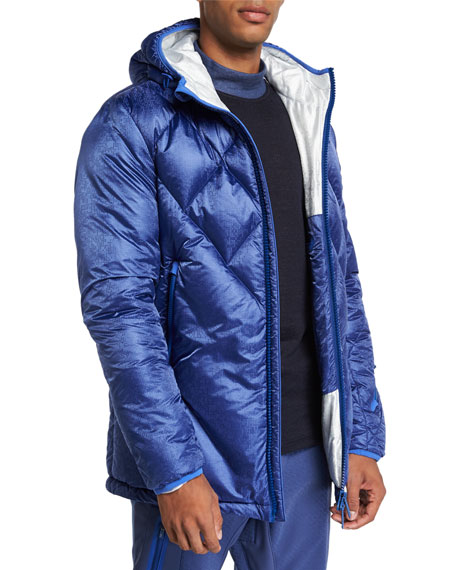 STEFANO RICCI Men'S Hooded Down Ski Jacket in Navy