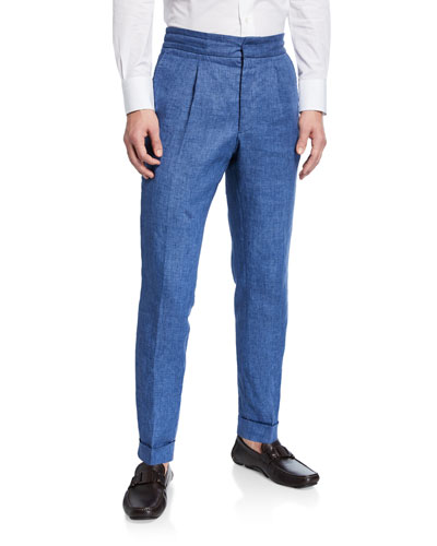 Men's Pleated-Front Tapered Linen Pants
