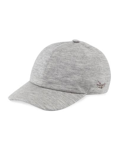 Men's Heathered Cashmere-Blend Jersey Baseball Cap