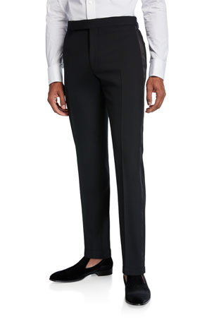 Ralph Lauren Purple Label Men's Gregory Wool Barathea Tapered Tuxedo Pants