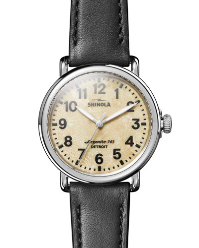 Men's 41mm Runwell Petoskey-Stone Watch with Leather Band