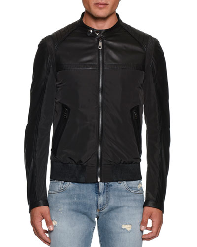 Men's Nylon/Leather Bomber Jacket