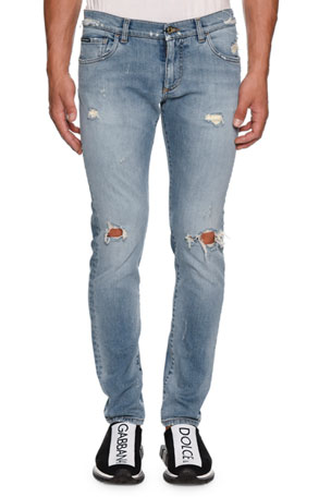 Dolce & Gabbana Men's Slightly Distressed Jeans