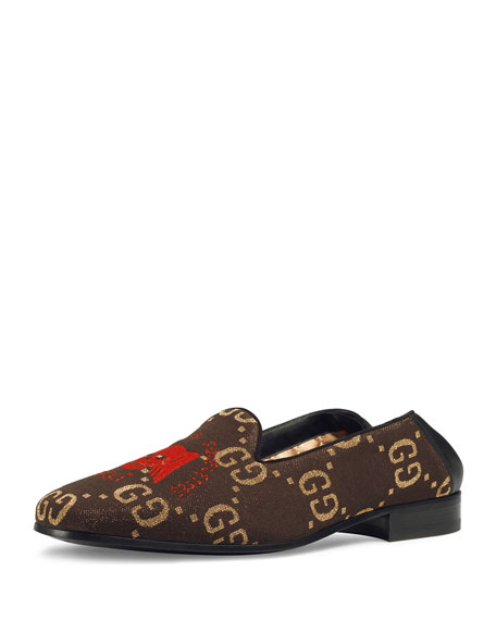Gucci Men's Winged Skull-Embroidered Loafers