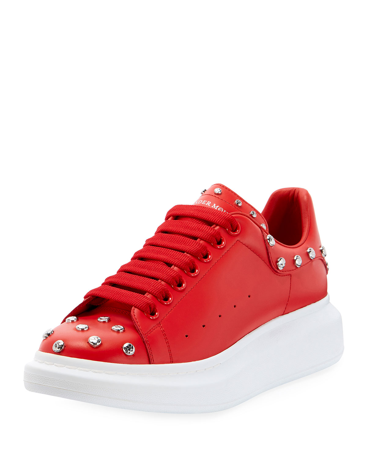 Alexander McQueen Men's Red Studded Leather Low-Top Sneakers with Oversize Sole