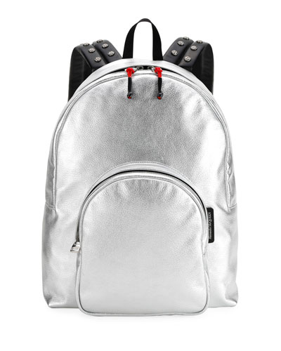 Men's Small Metallic Leather Backpack