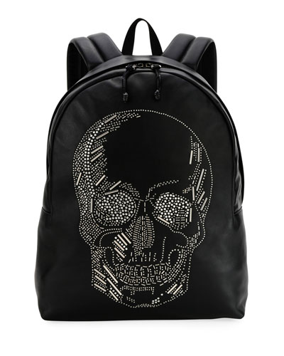 Men's Skull-Studded Small Backpack