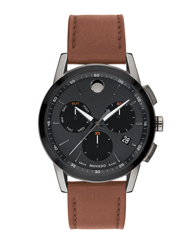 Men's Museum Sport Chronograph Watch with Leather Strap