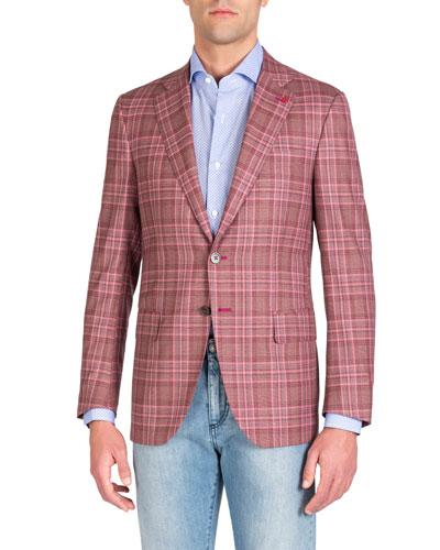 Men's Berry Plaid Blazer