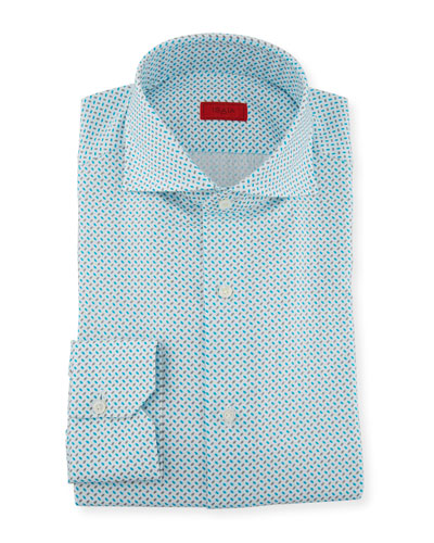 Men's Aqua Print Dress Shirt