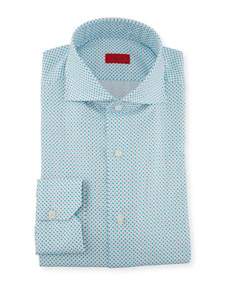 ISAIA Men'S Aqua Print Dress Shirt in Turquoise