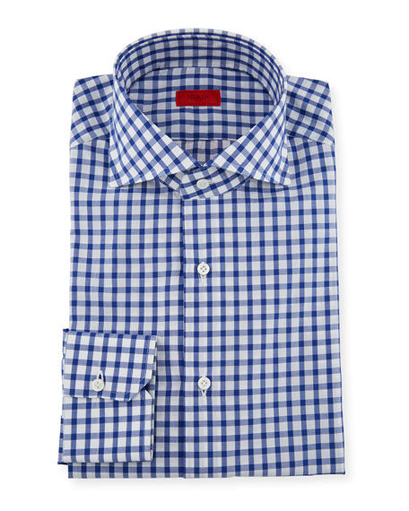 ISAIA Men'S Bold Check Dress Shirt in Blue/White